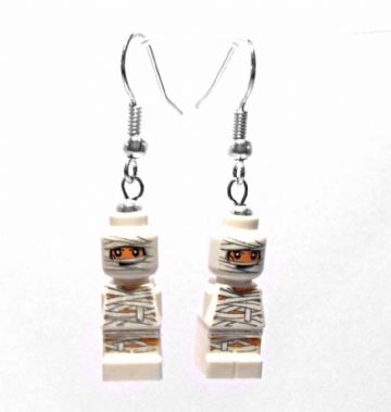 Egyptian Mummy Micro-figure Drop Earrings